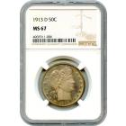 1913-D 50C Barber Half Dollar NGC MS67