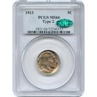1913 5C Buffalo Nickel, Type 2 PCGS MS66 (CAC)