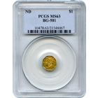 1853/54 California Gold Rush Circulating Fractional Gold $1, BG-501 Eagle Reverse PCGS MS63 R5