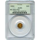 1853 California Fractional Gold 50C, BG-302 Liberty Octagonal, Peacock Reverse PCGS AU55 R4-