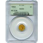 1854 California Gold Rush Circulating Fractional Gold G$1, BG-508 Liberty Octagonal PCGS AU53 R4+