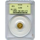 1853 California Gold Rush Circulating Fractional Gold G$1, BG-526 Liberty Octagonal PCGS AU50 R6