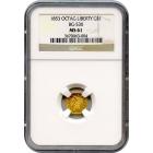1853 California Gold Rush Circulating Fractional Gold G$1, BG-530 Liberty Octagonal NGC MS61 R3