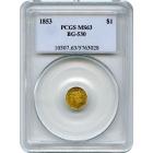 1853 California Gold Rush Circulating Fractional Gold G$1, BG-530 Liberty Octagonal PCGS MS63 R3