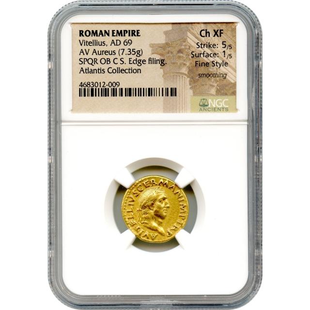Ancient Rome - 69 CE Vitellius AV Aureus NGC Choice XF
