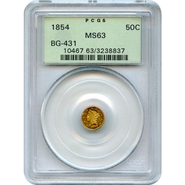 1854 California Gold Rush Circulating Fractional Gold 50C, BG-431 Liberty Round PCGS MS63 R5-