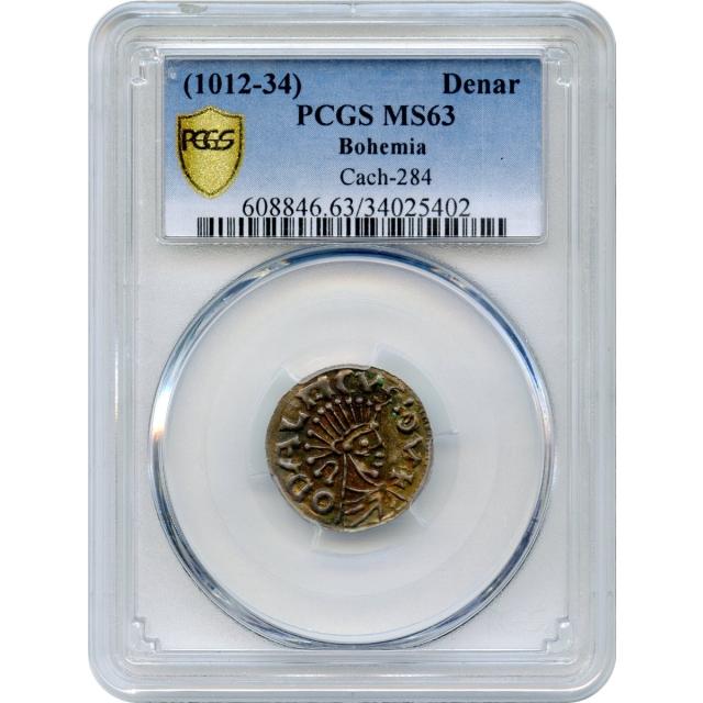 World Silver - 1012-1034 Denar Bohemia, Cach-284 variety PCGS MS63