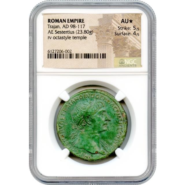 Ancient Rome - 98-117 CE Trajan AE Sestertius NGC AU* (STAR)