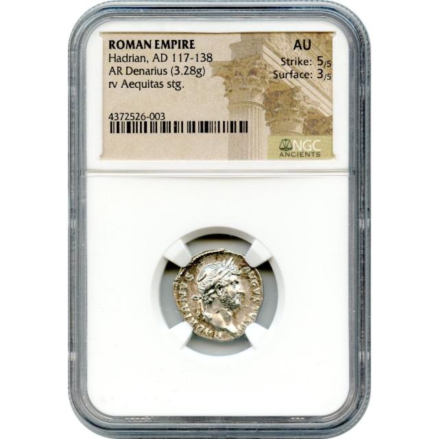 Ancient Rome - AD 117-138 Hadrian AR Denarius NGC AU