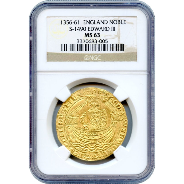 World Gold - 1356-1361 Great Britain Edward III, Noble S-1490 NGC MS63