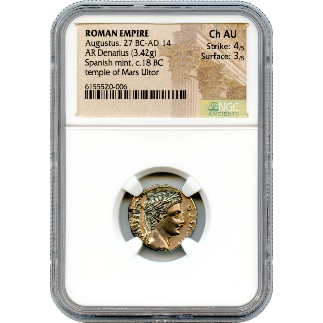 Ancient Rome - 18 BCE Augustus AR Denarius NGC Choice AU