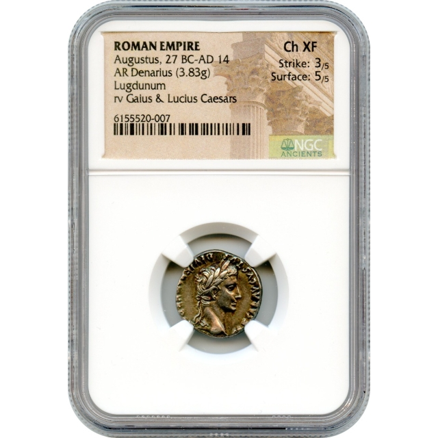 Ancient Rome -  27 BCE-14 CE Augustus AR Denarius NGC Choice XF