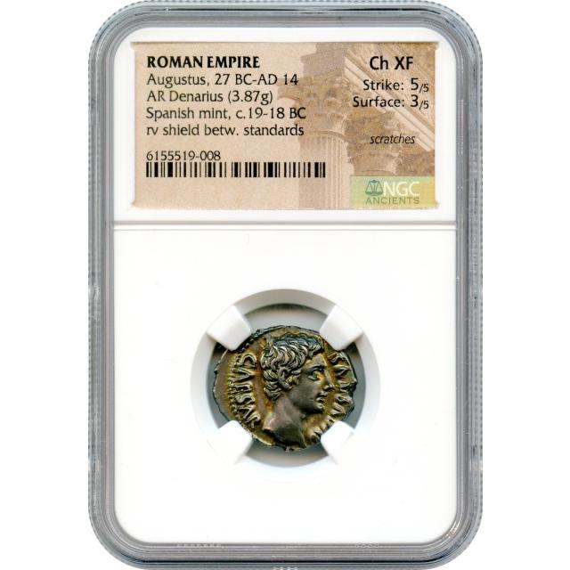 Ancient Rome -  19-18 BCE Augustus AR Denarius NGC Choice XF