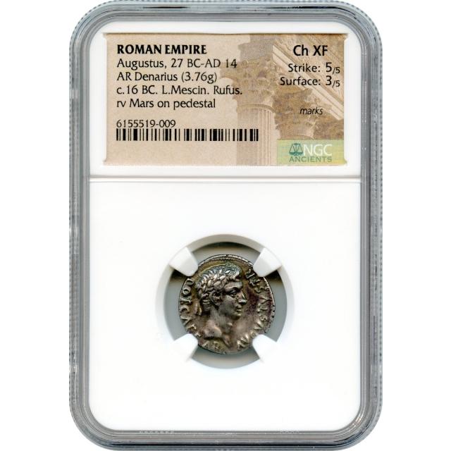 Ancient Rome - 16 BCE Augustus AR Denarius, L. Mescinius Rufus moneyer, NGC Choice XF
