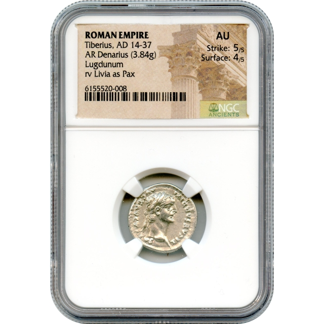 Ancient Rome - 14-37 CE Tiberius AR Denarius NGC AU