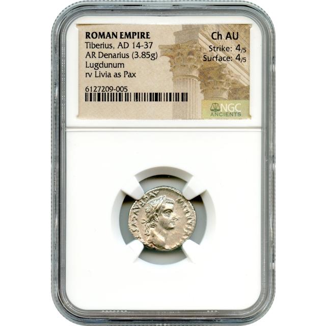 "Ancient Rome--14-37 CE, Tiberius AR Denarius, NGC Choice AU ""Biblical Tribute Penny"""