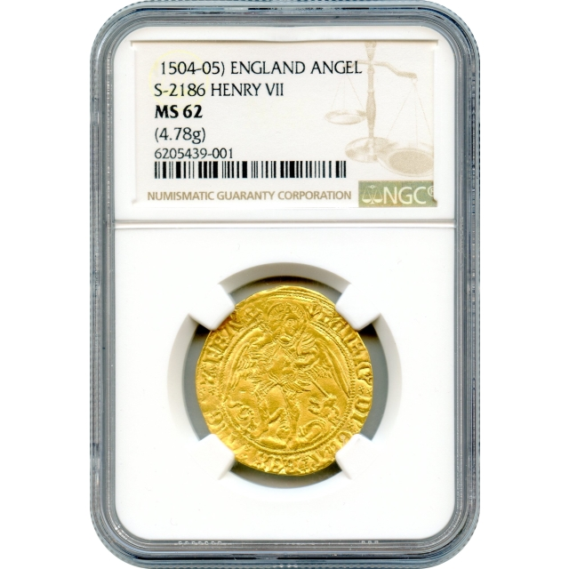 World Gold - 1504-1505 Great Britain Henry VII, Angel S-2186 NGC MS62