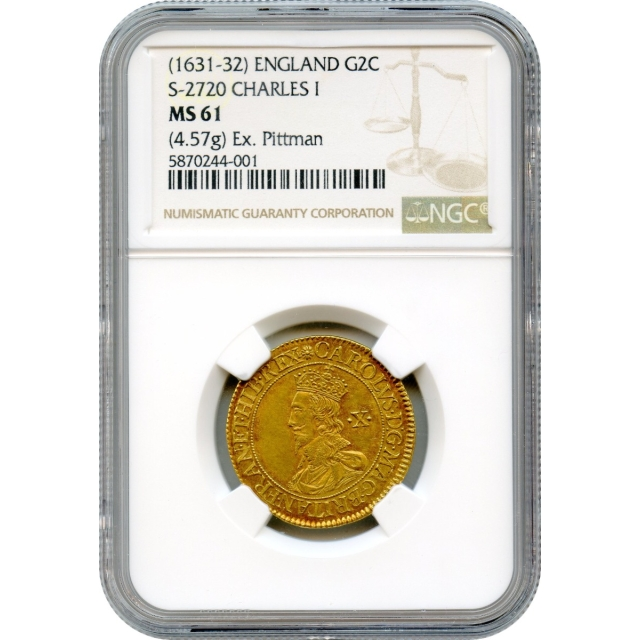World Gold - 1631-1632 Gold Double Crown Great Britain, Charles I (S-2720) NGC MS61