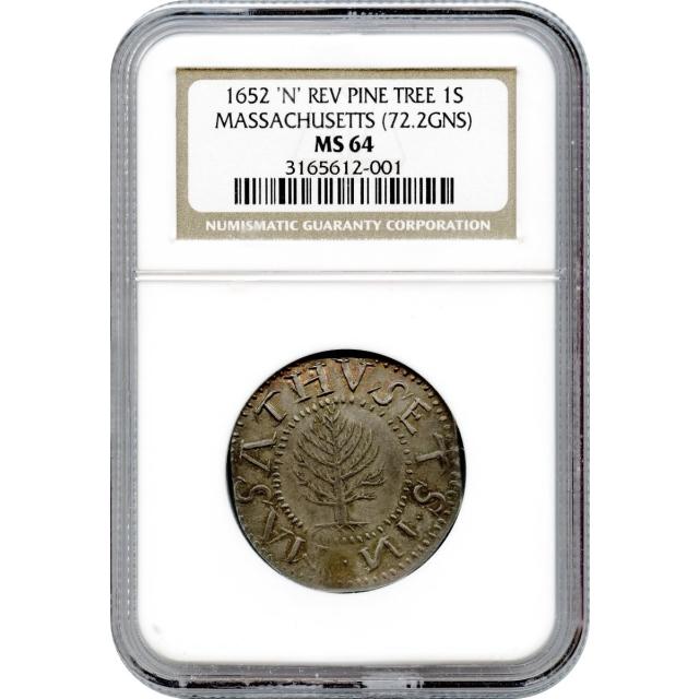 1652 Massachusetts Pine Tree Shilling, 'N' Reverse, 72.2gns NGC MS64