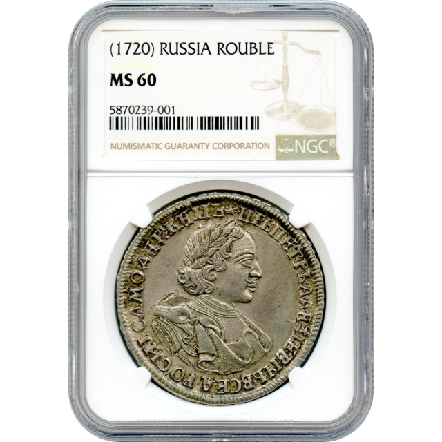 World Silver - 1720 (No Date) Russia Rouble Peter I (the Great) NGC MS60
