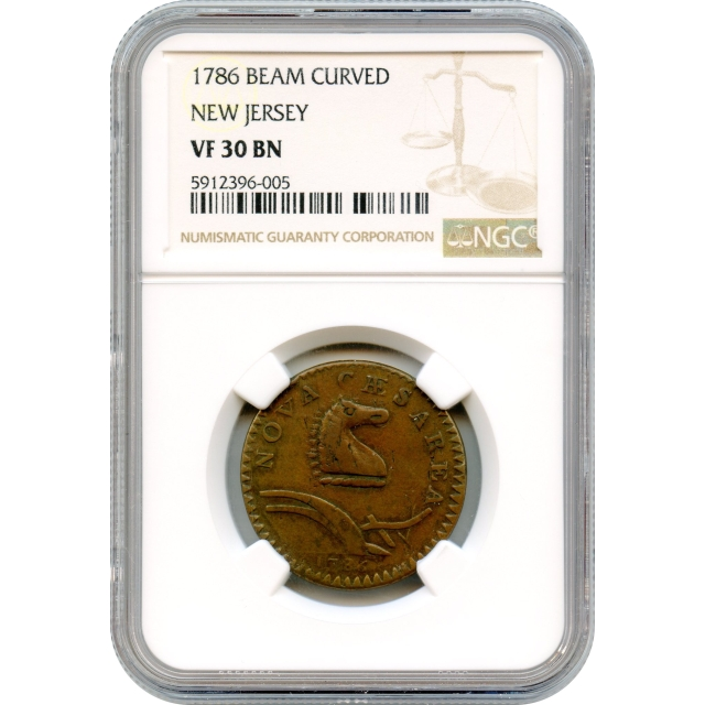 1786 New Jersey Copper, Narrow Shield, Curved Plow Beam NGC VF30BN