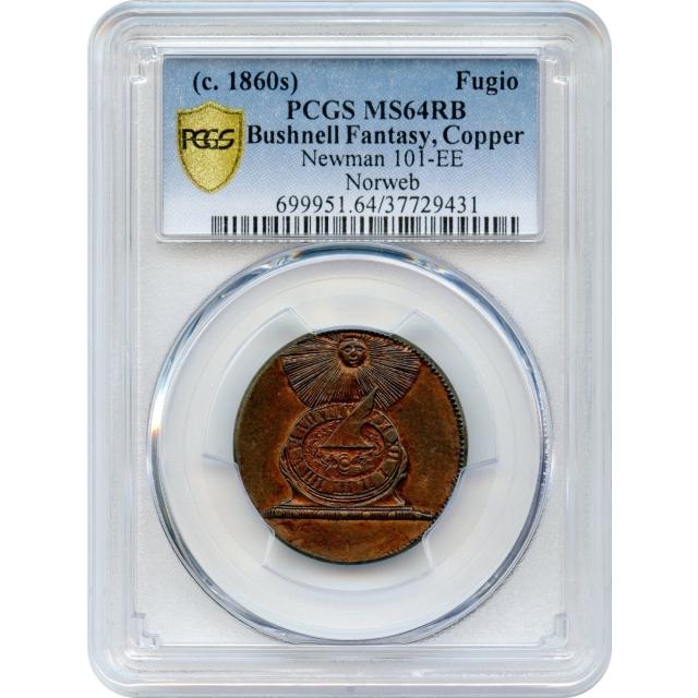 1787 1C Fugio Copper Restrike, Stars in Rings Reverse, N.101-EE PCGS MS64RB R8