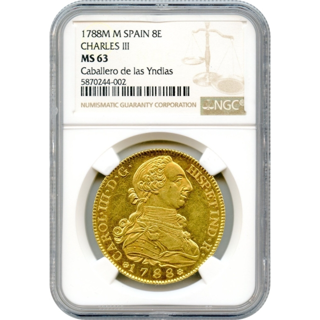 """World Gold - 1788-M 8 Escudos Spain, Madrid Mint, Charles III NGC MS63 """"Sole Finest Known!"""""""