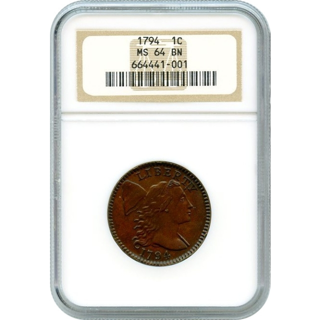 1794 1C Large Cent Head of 1795, S-70 Denticled Border NGC MS64