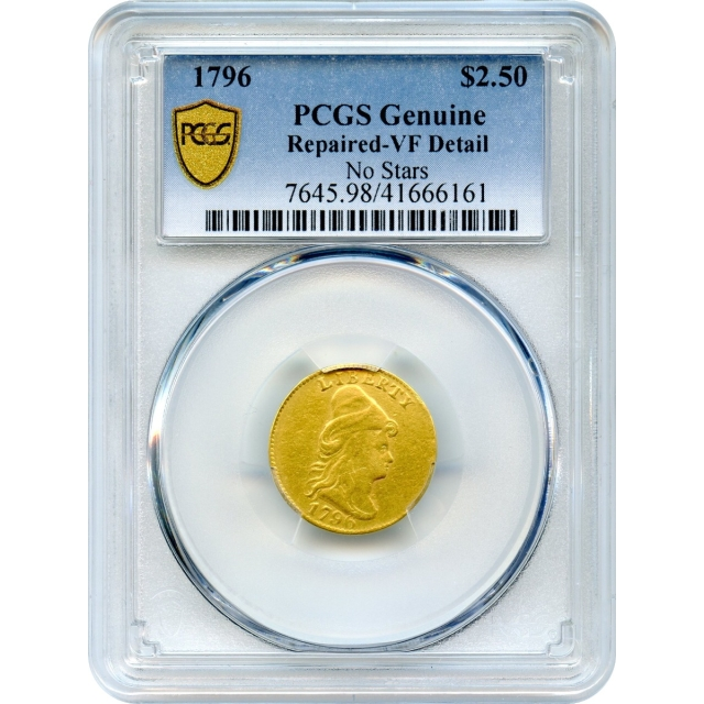 "1796 $2.50 Draped Bust Quarter Eagle, No Stars, PCGS VF Details ""Historic U.S. Gold Coin"""