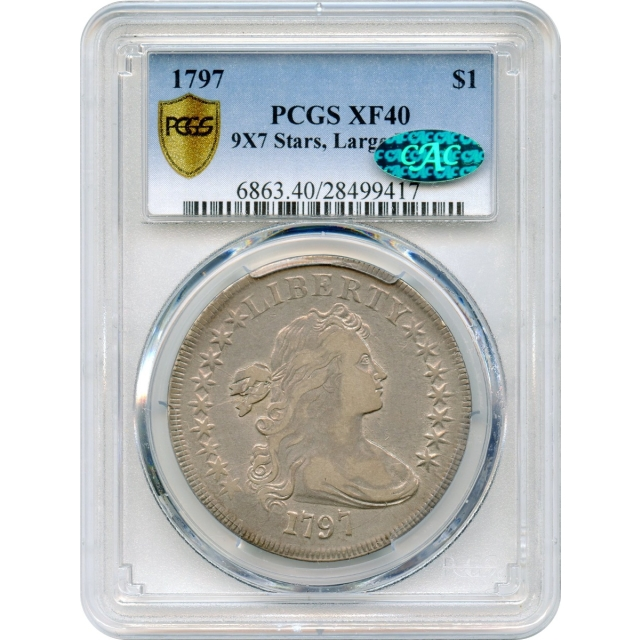 1797 $1 Draped Bust Silver Dollar, 9X7 Stars Large Letters, BB- PCGS XF40 (CAC)