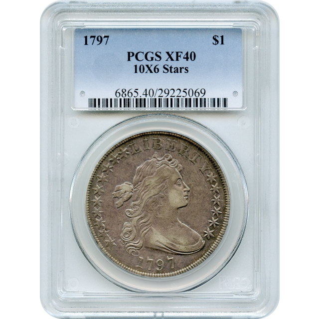 1797 $1 Draped Bust Dollar, 10X6 Stars PCGS XF40