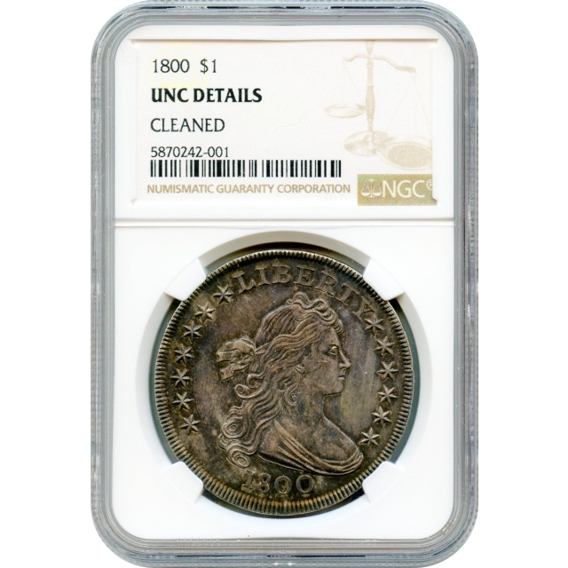 1800 $1 Draped Bust Silver Dollar, Large Eagle BB- NGC UNC Details