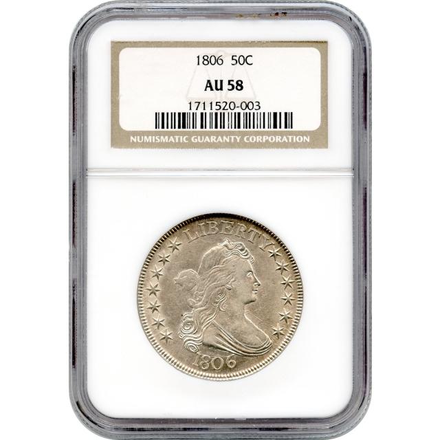 1806 50C Draped Bust Half Dollar, Large Eagle NGC AU58