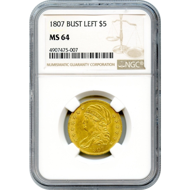 1807 $5 Capped Bust Half Eagle, Head Left NGC MS64