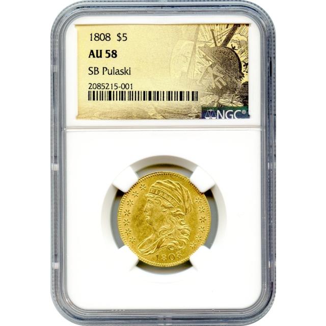 1808 $5 Capped Bust Half Eagle NGC AU58 Ex.SB Pulaski