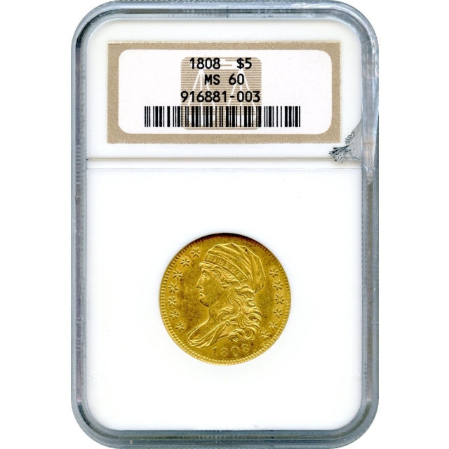 1808 $5 Capped Bust Half Eagle NGC MS60