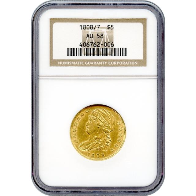 1808/7 $5 Capped Bust Half Eagle NGC AU58