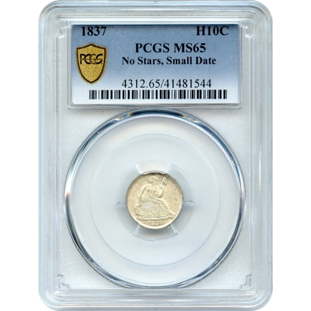 1837 H10C Liberty Seated Half Dime, No Stars Small Date PCGS MS65