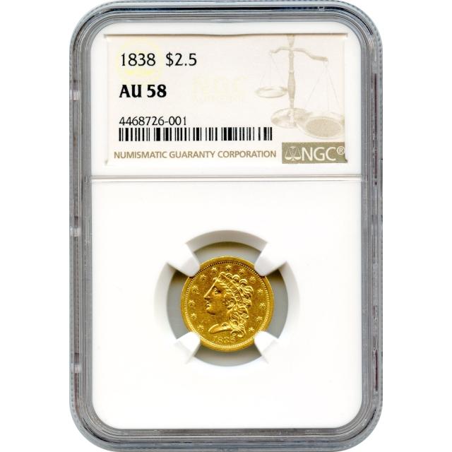 1838 $2.50 Classic Head Quarter Eagle NGC AU58