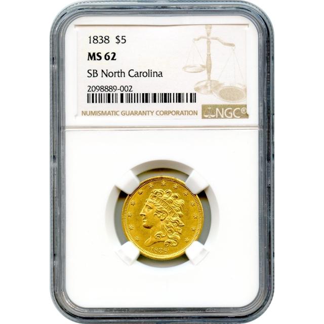 1838 $5 Classic Head Half Eagle NGC MS62 Ex.SB North Carolina