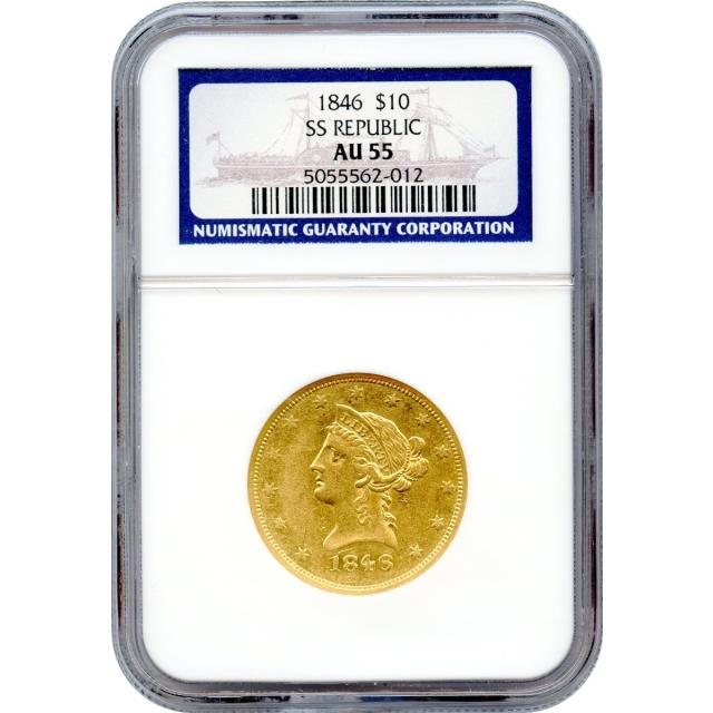 1846 $10 Liberty Head Eagle NGC AU55 Ex.SS Republic w/Box & COA