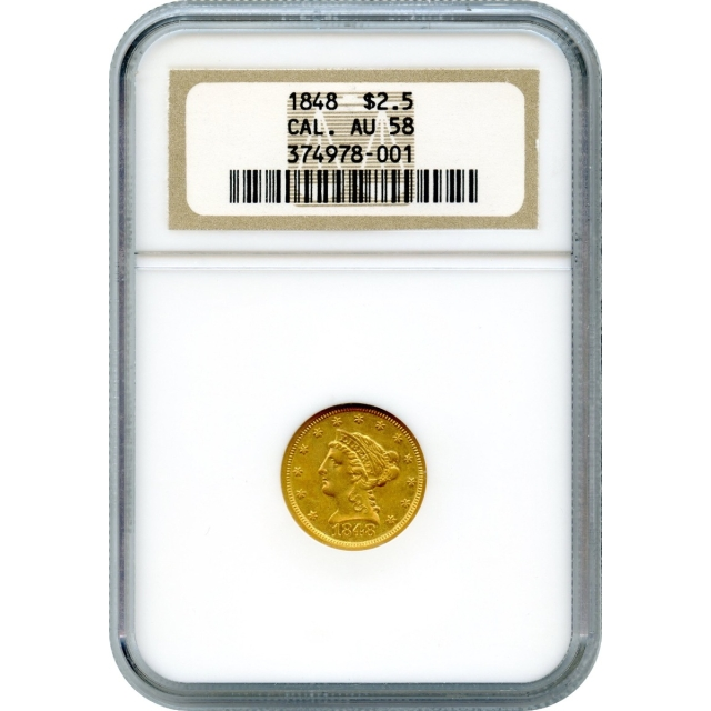 1848 $2.50 Liberty Head Quarter Eagle, with CAL. NGC AU58