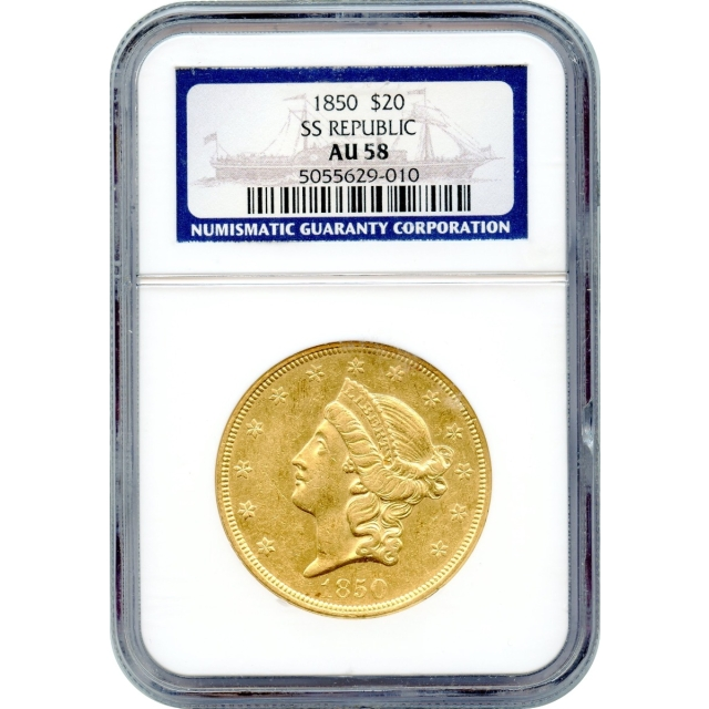1850 $20 Liberty Head Double Eagle NGC AU58 Ex.SS Republic