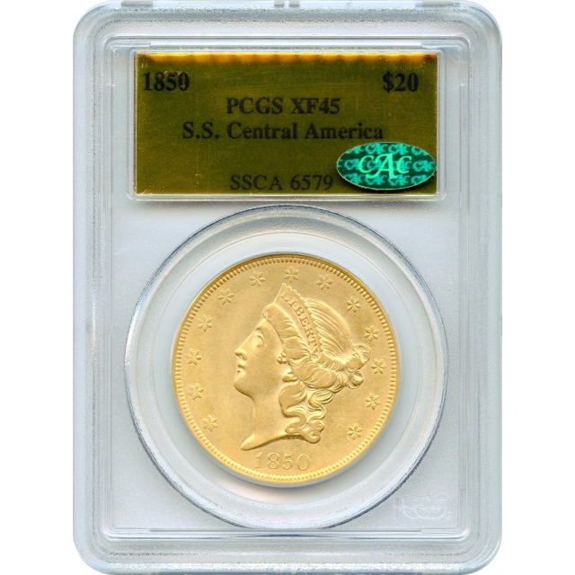 1850 $20 Liberty Head Double Eagle PCGS XF45 (CAC) Ex.SS Central America #1