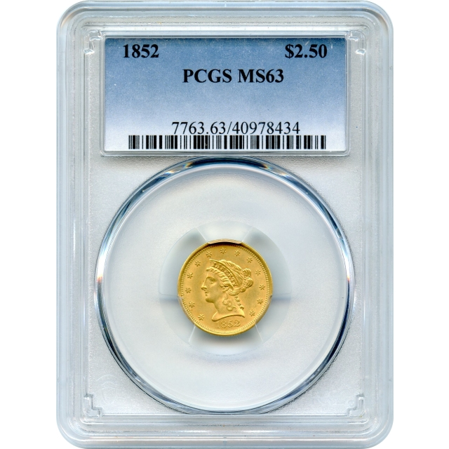 1852 $2.50 Liberty Head Quarter Eagle PCGS MS63