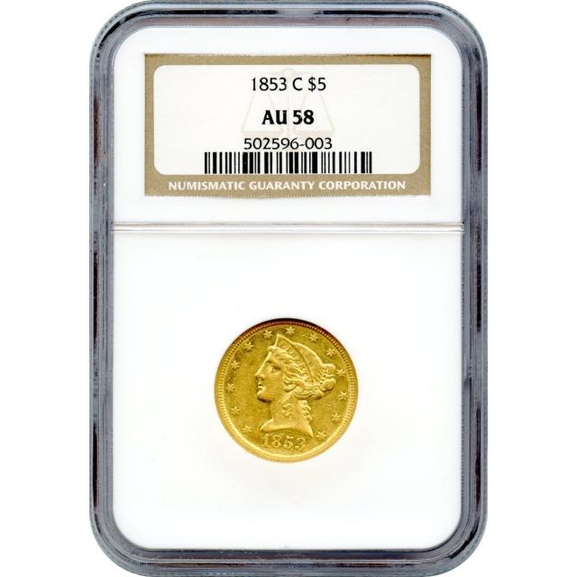 1853-C $5 Liberty Head Half Eagle NGC AU58