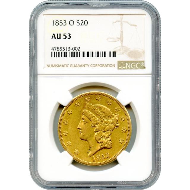 1853-O $20 Liberty Head Double Eagle NGC AU53