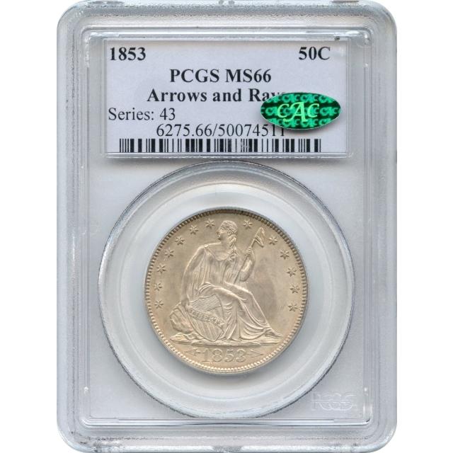 1853 50C Liberty Seated Half Dollar, Arrows & Rays PCGS MS66 (CAC)