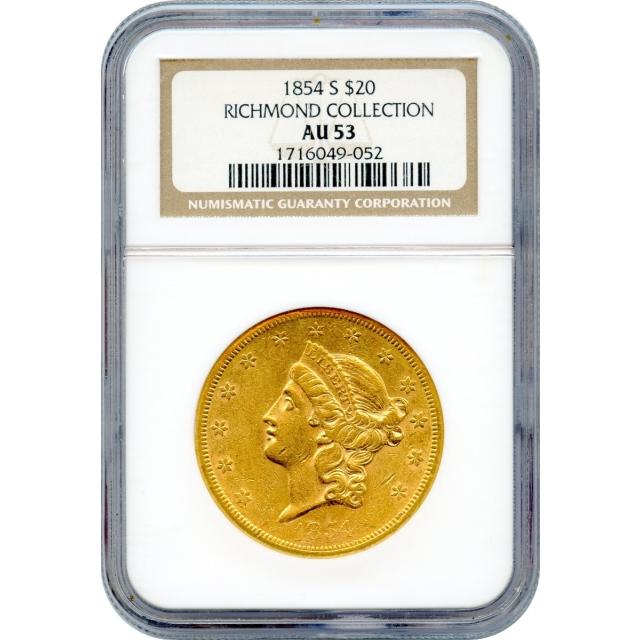 1854-S $20 Liberty Head Double Eagle NGC AU53 Ex.Richmond