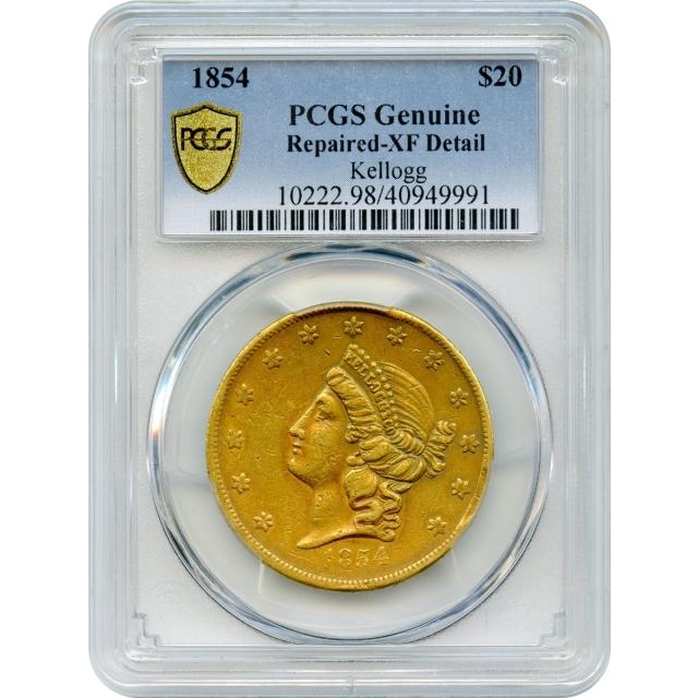 1854 $20 California Gold Double Eagle - Kellogg & Co. PCGS Genuine